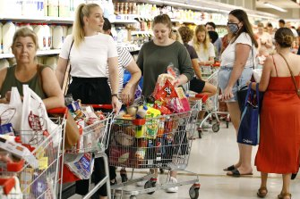 Shoppers packed local shopping centres in Brisbane after the Queensland Premier Annastacia Palaszczuk announced a three day lock down.