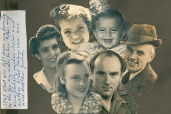 Sarah (front) in 1945 with surviving relatives (clockwise from left) sister-in-law Ester, niece Dahlia, nephew Aaron, brother Gidal and brother Julek.