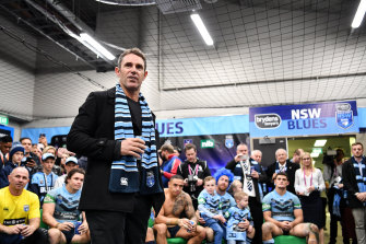 Brad Fittler in the NSW sheds during the 2018 State of Origin series.