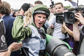 Glen Boss celebrates Yes Yes Yes' win in The Everest.