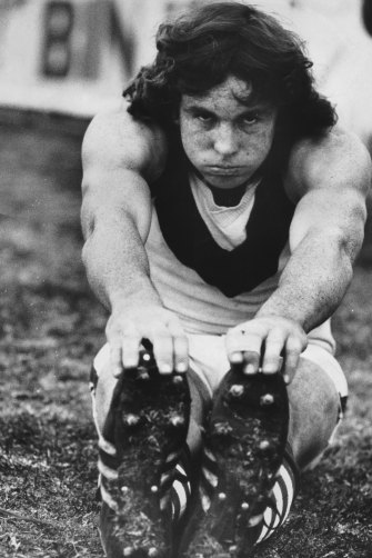 Terry Daniher in training with the Swans in 1976.