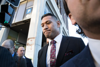 Israel Folau arriving at the Fair Work Commission on Friday .