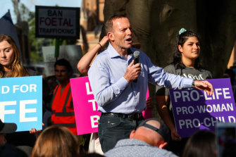 Tony Abbott addresses the protesters at an anti-abortion rally in Hyde Park, Sydney, on Sunday.