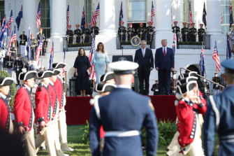 Scott and Jenny Morrison were given an extravagant welcome ceremony outside the White House.
