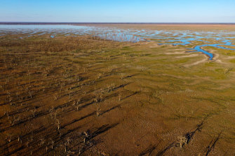 Lake Pamamaroo, part of the Menindee Lake system in western NSW, is nearly dry.