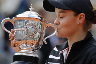 Barty relishing her winning moment.