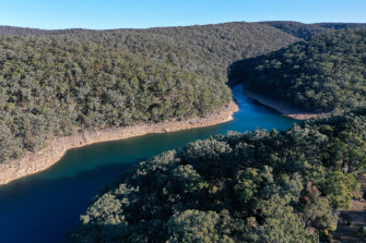 Avon Dam in the Woronora catchment area to Sydney's south is sitting at just below 50 per cent full - about where the overall storages for the city sit.