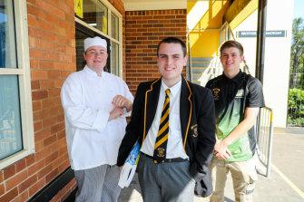 James Cavallaro, Thomas Kilby and Ryan Grouse at Champagnat Catholic College in Maroubra.