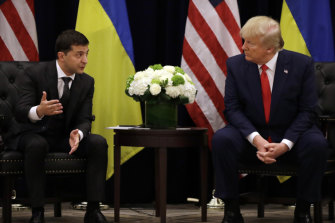 President Donald Trump meets with Ukrainian President Volodymyr Zelensky in New York.