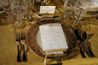 The menu for the White House state dinner.