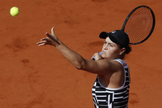 In action during the final of the French Open.