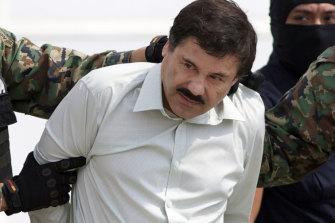 "Joaquin ""El Chapo"" Guzman, the head of Mexico's Sinaloa Cartel, following his capture in 2014."