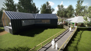 Artist's impressions of the new $5 million Boondall Wetlands Environment Centre.