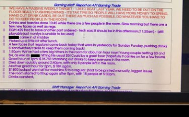 "A screenshot of the ""gaming daily briefing sheet"" at a Woolworths-owned pub shows notes taken by staff to record what actions they took to encourage gamblers to stay on site."