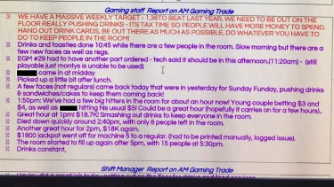 "A screenshot of the ""gaming daily briefing sheet"" shows notes taken by staff to record what actions they took to encourage gamblers to stay on site."