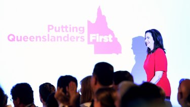 Queensland Premier Annastacia Palaszczuk takes to the stage to officially launch the Labor election campaign.