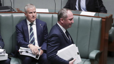 Minister for Veterans' Affairs Michael McCormack and Deputy Prime Minister Barnaby Joyce in Parliament this month.