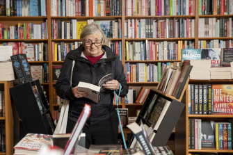Joanna Mendelssohn, browsing at Gleebooks in Dulwich Hill, has changed her shopping habits since the pandemic.