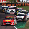 Setting the pace: Scott McLaughlin leads the field through turn one after the start of race 18.