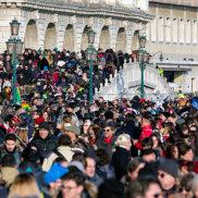 Overcrowded waterfront Riva degli Schiavoni on February 11, 2018 in Venice
