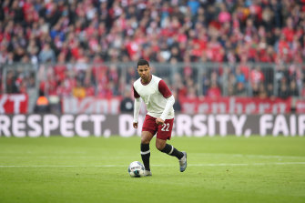Bayern's Serge Gnabry in action before the shutdown last month.
