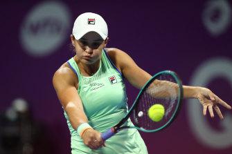 Ashleigh Barty returns a backhand against Petra Kvitova at the WTA Qatar Total Open.