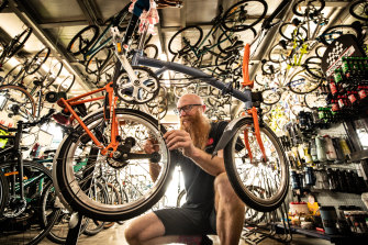 Stuart Armstrong, of Velo Cycles in Melbourne, says demand for bikes is like Christmas but supply is hard to come by.