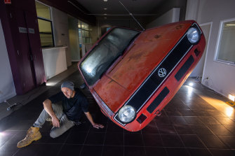 Jason Waterhouse and his VW car sculpture.