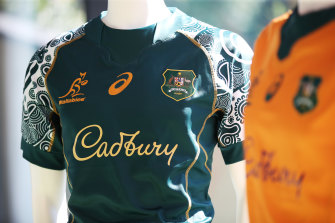 SYDNEY, AUSTRALIA - MAY 13:  The new Wallabies Indigenous jersey is seen on display after Cadbury was announced as a major sponsor of the Wallabies and Wallaroos during a Wallabies and Wallaroos media opportunity at the Rugby Australia Building on May 13, 2021 in Sydney, Australia. (Photo by Matt King/Getty Images)