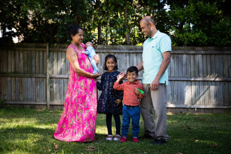 Shameela Karunakaran and Julian Rayappu had their three children, ages 5, 3 and 1 month from the one round of IVF. They had the three embryos implanted at different times, in Sydney. 17th September 2021 Photo: Janie  Barrett