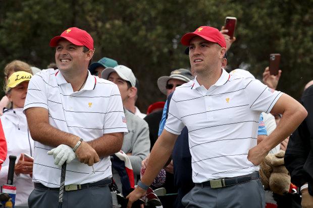 Patrick Reed (left) and Justin Thomas at Royal Melbourne.