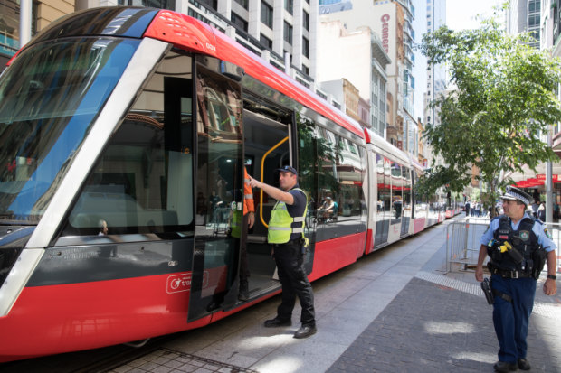 A tram broke down on George Street during testing on Wednesday.