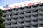 Brisbane's Hotel Grand Chancellor, which saw an outbreak of the UK variant of coronavirus.