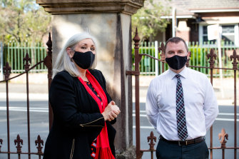 Principal Gail Clough and teacher Luke Fulwood at Macarthur Girls High, Parramatta .26th July 2021. Photo: Edwina Pickles / SMH