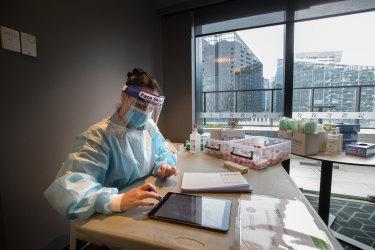 A coronavirus testing room at a quarantine hotel in Melbourne.