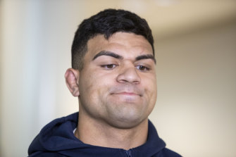 Fifita arriving back at Brisbane International Airport after his dramas in Bali.