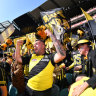 Inside the MCG, Tigers fans rejoice with a big, big wall of sound