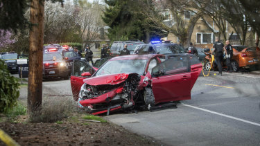 Sand Point Way Northeast, where two cars collided following a shooting in Seattle.