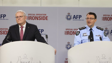 Prime Minister Scott Morrison and AFP Commissioner Reece Kershaw reveal the Ironside raids and arrests.