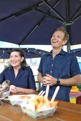 Environment Minister Leeanne Enoch and East Street Markets co-founder John Harrison.