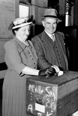 Cahill and his wife Esmey vote in the 1953 State Election at Marrickville on 14 February 1953.