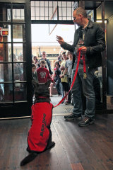 With producer Nelson Woss, Koko prepares to meet his fans while promoting Red Dog.