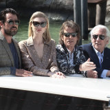 The stars arrive at the Venice Film Festival photocall, from left, Claes Bang, Elizabeth Debicki, Mick Jagger, Donald Sutherland