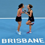 Barbora Strycova and Su-Wei Hsieh celebrate their doubles victory in Brisbane.