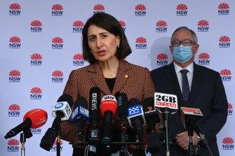 NSW Premier Gladys Berejiklian and NSW Health Minister Brad Hazzard during the COVID-19 update.