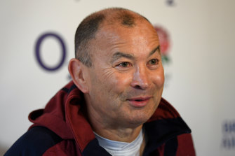 England rugby coach Eddie Jones during a press conference in Bagshot, England on Thursday.