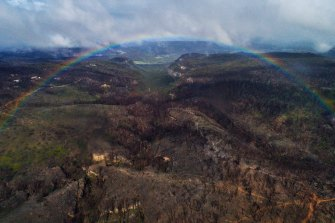 End of the autumn warmth: Rainbows over Dargan looking into the Grose Valley, a region still bearing the brutal scars of the summer fires.