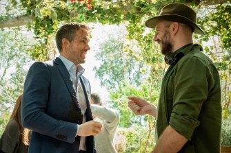Ryan Reynolds and Hughes on the set of Hitman's Wife's Bodyguard.