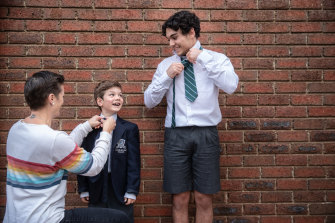 Harry is getting ready to go back to year 11 on Tuesday while his little brother Ned prepares for prep, pictured with mum Georgia Gregg.