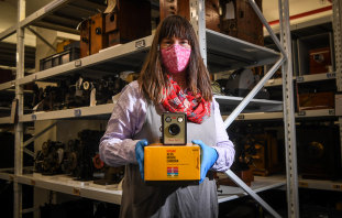 Museums Victoria senior curator Fiona Kinsey with some of the 40,000 Kodak items.